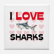 I Love Sharks Tile Coaster