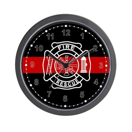 Firefighter Thin Red Line Wall Clock