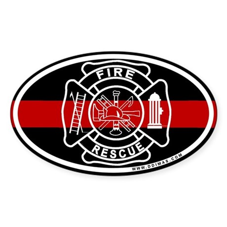 Firefighter Thin Red Line Oval Sticker