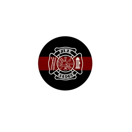Firefighter Thin Red Line Mini Button (10 pack)
