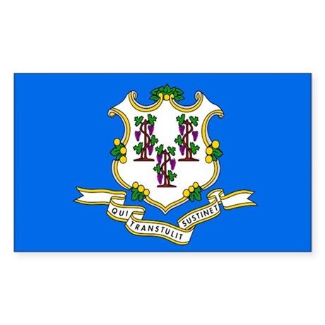 Connecticut State Flag Rectangle Sticker