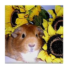 Sunflowers Pig! Tile Coaster