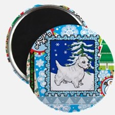 Scrapbook Westie Christmas Magnet
