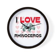 I Love Rhinoceros Wall Clock