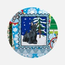 Scrapbook Scottie Christmas Ornament (Round)