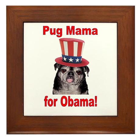Obama Pug Mama Framed Tile