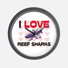 I Love Reef Sharks Wall Clock