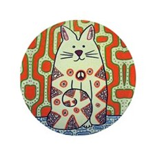 """Peace Cat Original Funky Art 3.5"""" Button"""