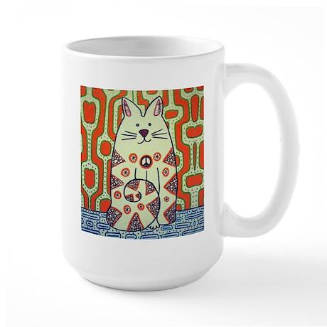 Peace Cat Original Funky Art Large Mug