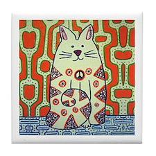 Peace Cat Original Funky Art Tile Coaster