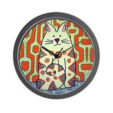 Peace Cat Original Funky Art Wall Clock