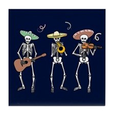 Mariachi Skeletons Tile Coaster