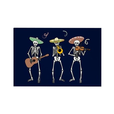 Mariachi Skeletons Rectangle Magnet (10 pack)