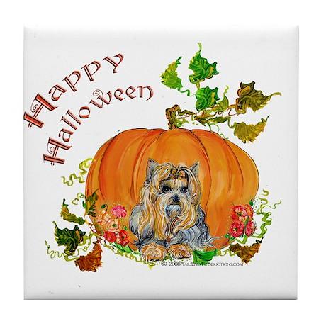 Pumpkin Yorkshire Terrier Tile Coaster