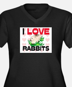 I Love Rabbits Women's Plus Size V-Neck Dark T-Shi