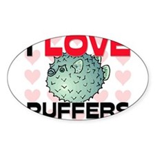I Love Puffers Oval Sticker