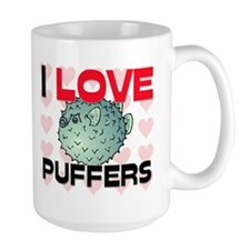 I Love Puffers Large Mug