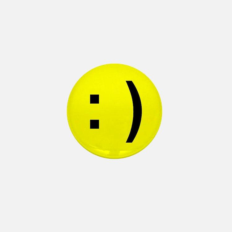 Happy Face Emoticon Mini Button