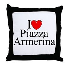 """I Love (Heart) Piazza Armerina"" Throw Pillow"