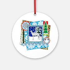 Scrapbook Greyhound Christmas Ornament (Round)