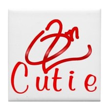 Red On2 Cutie Tile Coaster