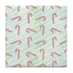Striped Candy Cane Tile Drink Coaster