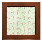 Striped Candy Cane Framed Tile