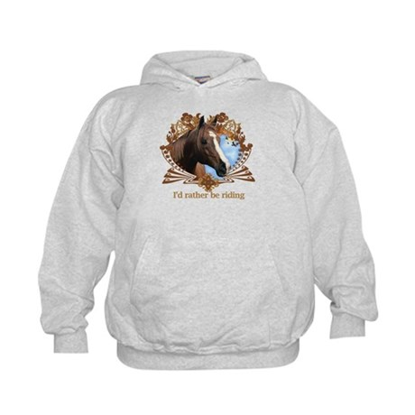I'd Rather Be Riding Horses Kids Hoodie