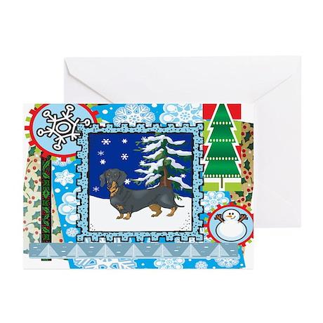 Scrapbook Dachshund Christmas Greeting Cards (Pk o