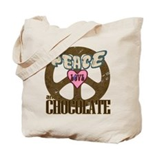 Peace Love and Chocolate Tote Bag