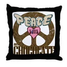 Peace Love and Chocolate Throw Pillow