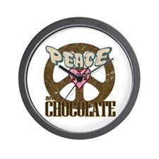 Peace Love and Chocolate Wall Clock