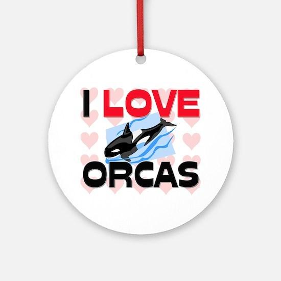 I Love Orcas Ornament (Round)