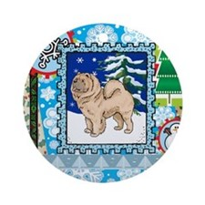 Scrapbook Chow Chow Christmas Ornament (Round)