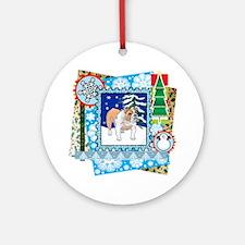 Scrapbook Bulldog Christmas Ornament (Round)