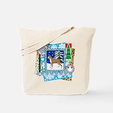 Scrapbook Boxer Christmas Tote Bag