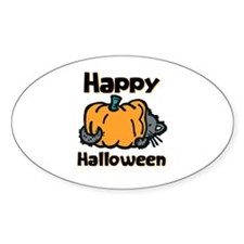 Cat and Pumpkin Oval Decal