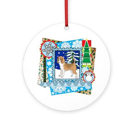 Scrapbook Beagle Christmas Ornament (Round)