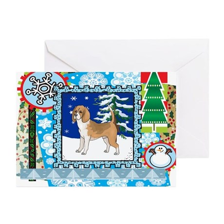 Scrapbook Beagle Christmas Greeting Cards (Pk of 1