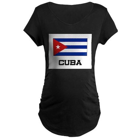Cuba Flag Maternity Dark T-Shirt