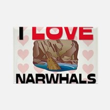 I Love Narwhals Rectangle Magnet