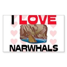 I Love Narwhals Rectangle Decal