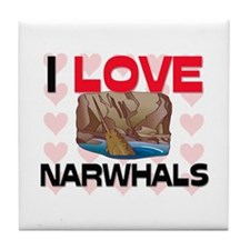 I Love Narwhals Tile Coaster