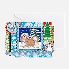 Scrapbook Shihtzu Christmas Greeting Card