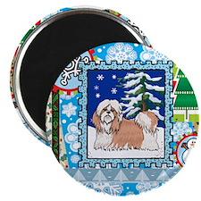 Scrapbook Shihtzu Christmas Magnet