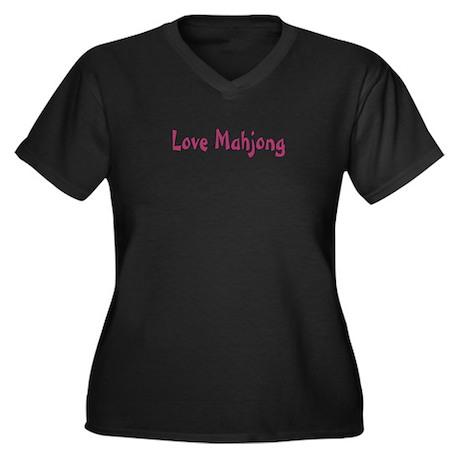 Love Mahjong Women's Plus Size V-Neck Dark T-Shirt