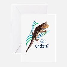 Bearded Dragon Got Crickets 3 Greeting Cards (Pk o