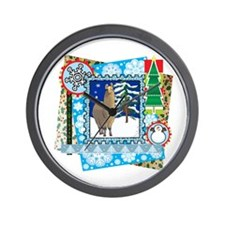 Scrapbook Alpaca Christmas Wall Clock