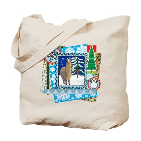 Scrapbook Alpaca Christmas Tote Bag