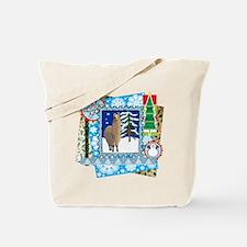 Scrapbook Alpaca Christmas Tote Bag